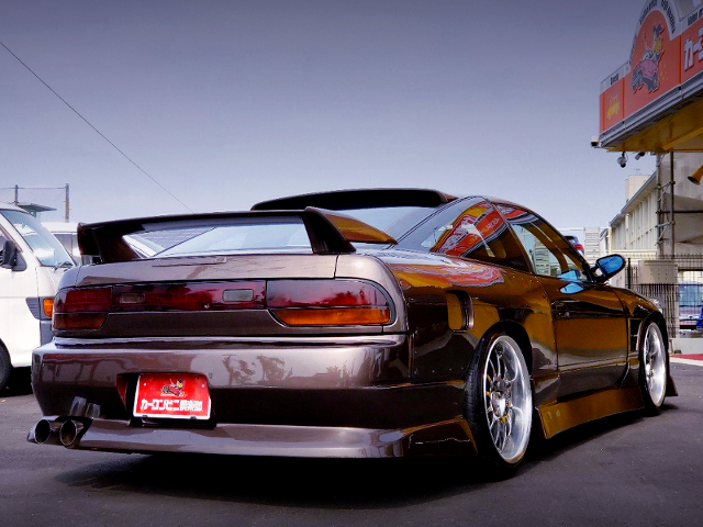REAR EXTERIOR OF 180SX With WIDEBODY AND BROWN METALLIC.