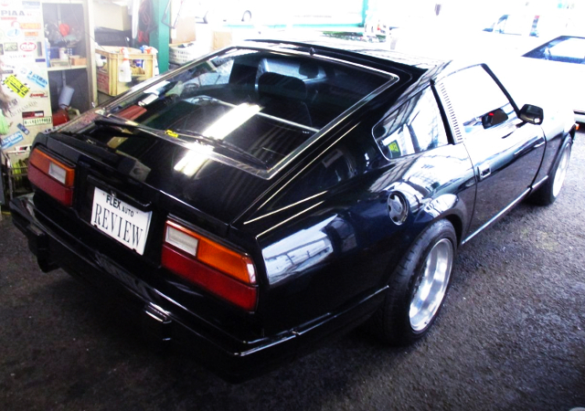 REAR EXTERIOR OF S130Z BLACK AND SILVER TWO-TONE.