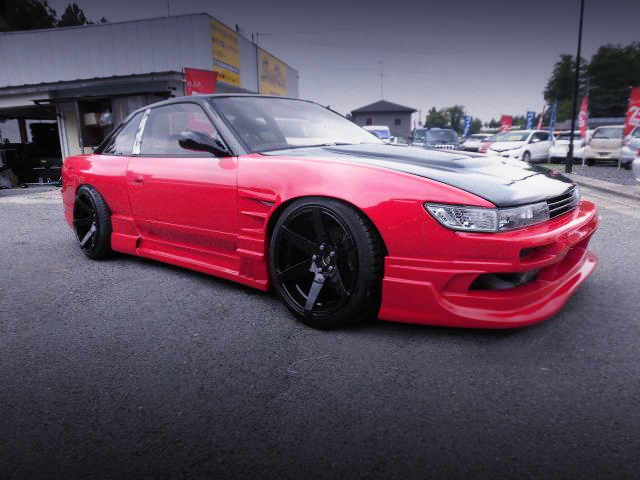 FRONT EXTERIOR OF S13 SILVIA WIDEBODY RED.