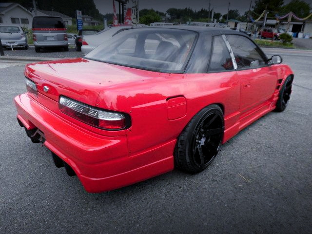 REAR EXTERIOR OF S13 SILVIA WIDEBODY RED.