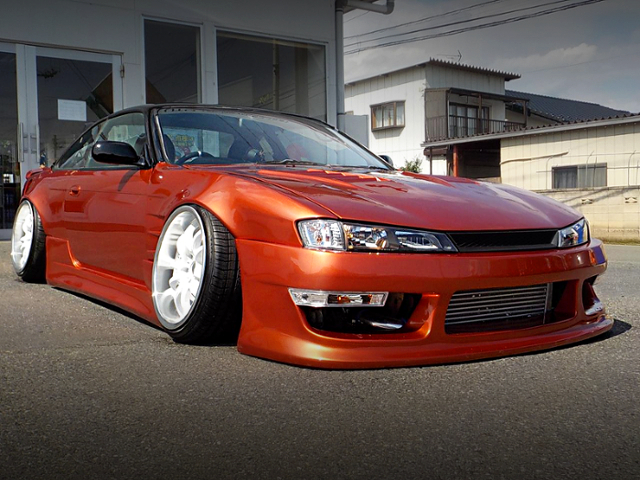 FRONT EXTERIOR OF S14 SILVIA With STACE AND CAMBER.