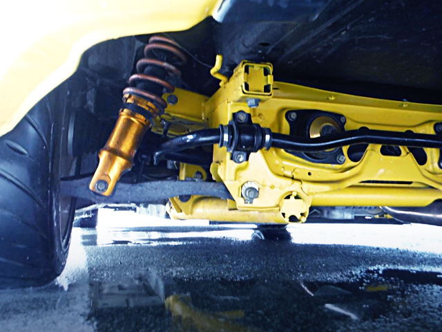 REAR CUSTOM SUBFRAME AND COILOVER.