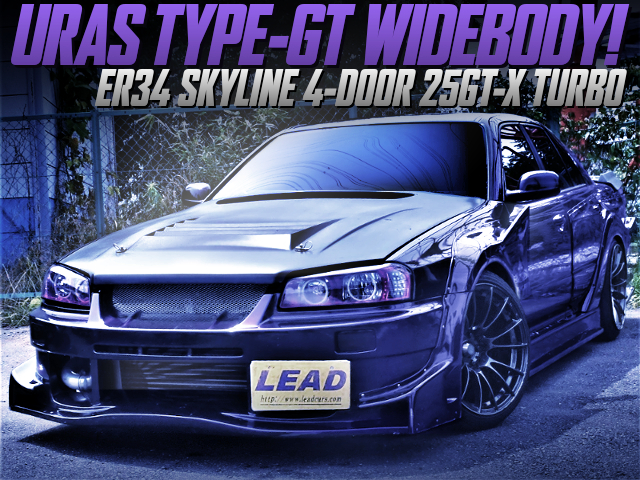 URAS TYPE-GT WIDEBODY ONTO ER34 SKYLINE 4-DOOR PURPLE.