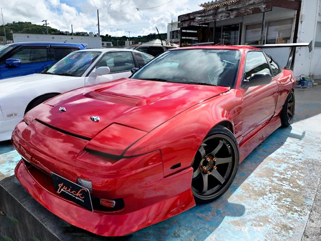 FRONT EXTERIOR OF 180SX WIDE BODY AND RED PAINT.