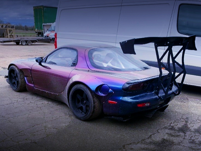 REAR EXTERIOR OF FD3S RX-7 With ROCKET BUNNY WIDEBODY AND GT-WING.
