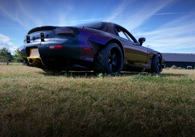 REAR EXTERIOR OF FD3S RX-7 With ROCKET BUNNY WIDEBODY.