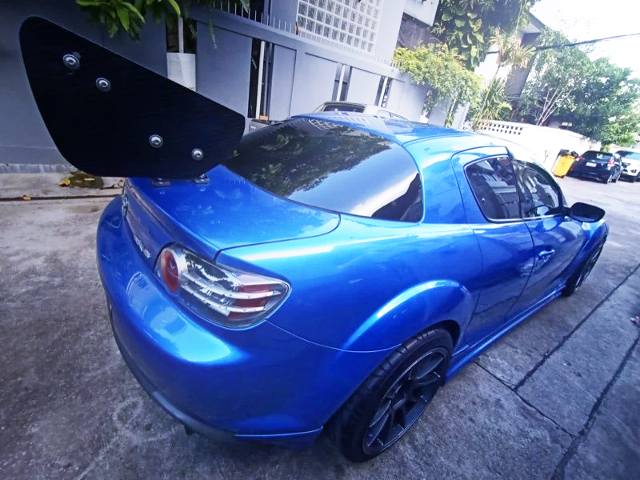 REAR EXTERIOR OF SE3P MAZDA RX-8 TO BLUE.