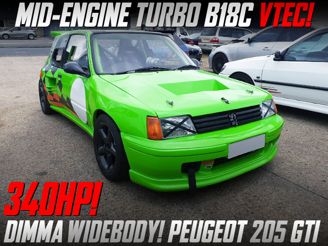MID ENGINE TURBO B18C VTEC With PEUGEOT 205 GTI WIDEBODY.