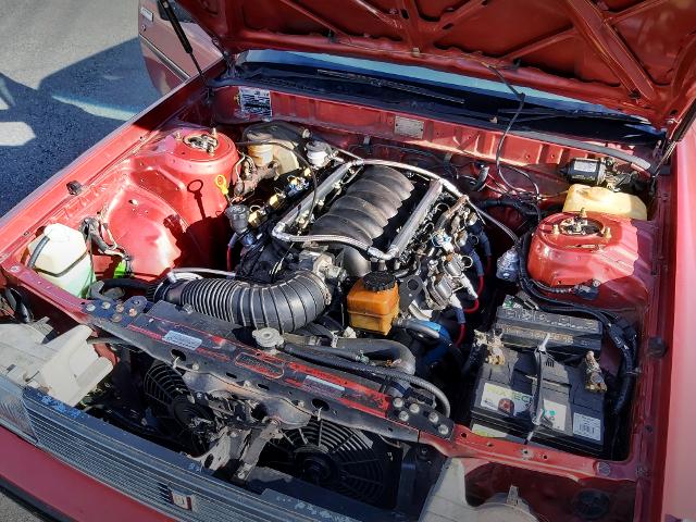 LS1 5700cc V8 ENGINE INTO X70 CRESSIDA ENG ROOM.