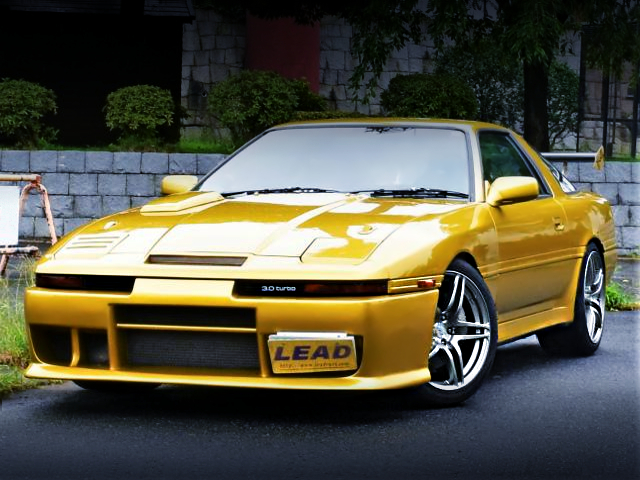 FRONT EXTERIOR OF MA70 SUPRA 3.0GT TURBO-A TO GOLD PAINT.