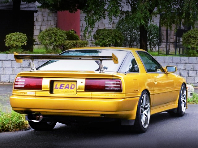 REAR EXTERIOR OF MA70 SUPRA 3.0GT TURBO-A TO GOLD PAINT.