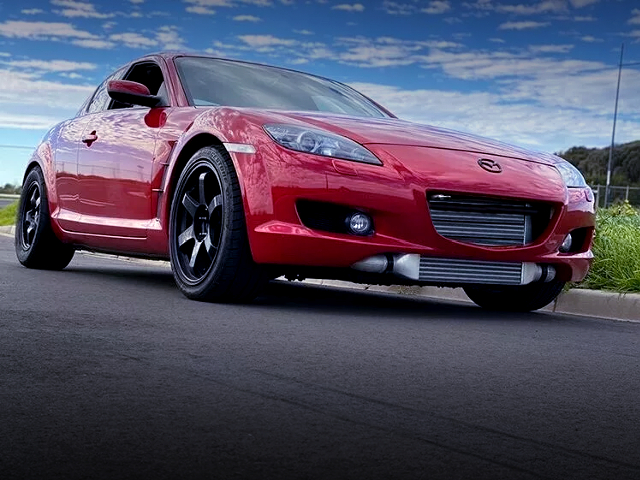 FRONT EXTERIOR OF RX-8 TO RED.