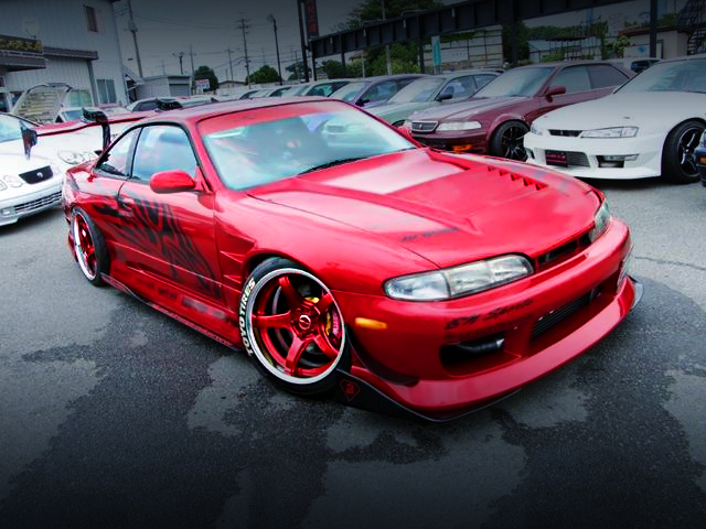 FRONT EXTERIOR OF S14 SILVIA K's RED.