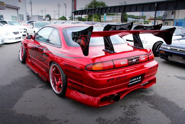 REAR EXTERIOR S14 SILVIA K's WIDEBODY AND RED COLOR.