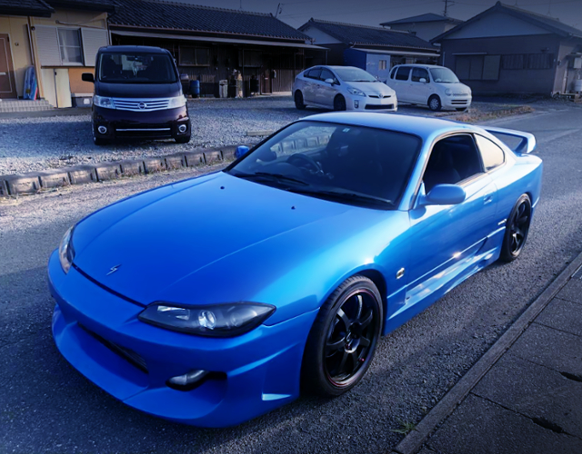 FRONT EXTERIOR OF S15 SILVIA SPEC-R BLUE.