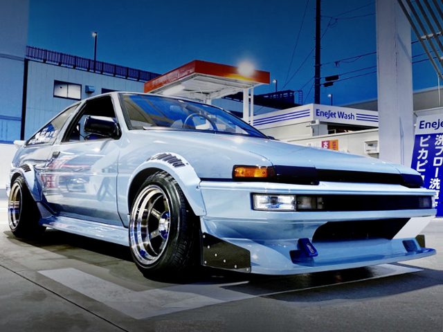 FRONT EXTERIOR OF AE86 TRUENO WIDEBODY.