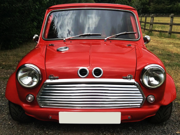 FRONT FACE OF TWIN R1 ENGINED CLASSIC MINI.
