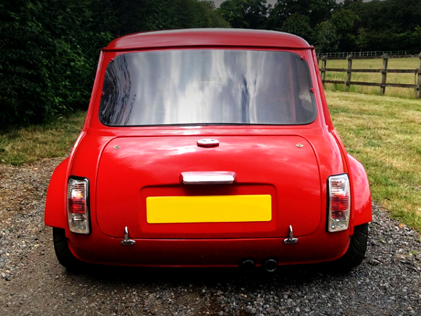 REAR TAIL LIGHT OF TWIN R1 ENGINED CLASSIC MINI.