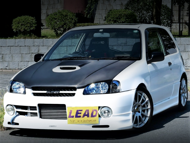 FRONT EXTERIOR OF EP91 STARLET GLANZA-V With WHITE COLOR.