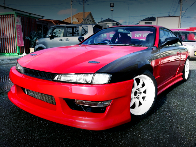 FRONT EXTERIOR S14 FACELIFT SILVIA TO RE AND BLACK TWO-TONE.