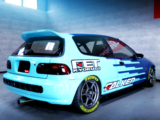 REAR EXTERIOR OF EG6 CIVIC SiR S WITH FALKEN RACING COLOR.