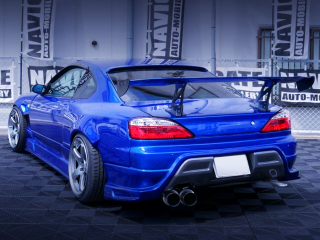 REAR EXTERIOR OF S15 SILVIA SPEC-R BLUE.
