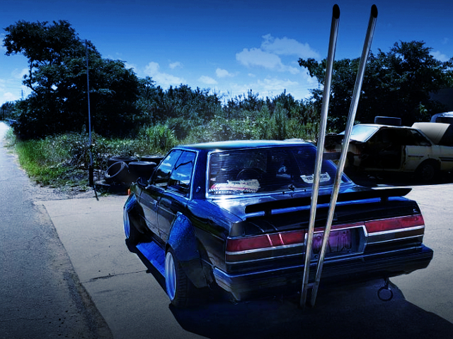 REAR EXTERIOR OF GX71 CHASER TO KAIDO RACER.
