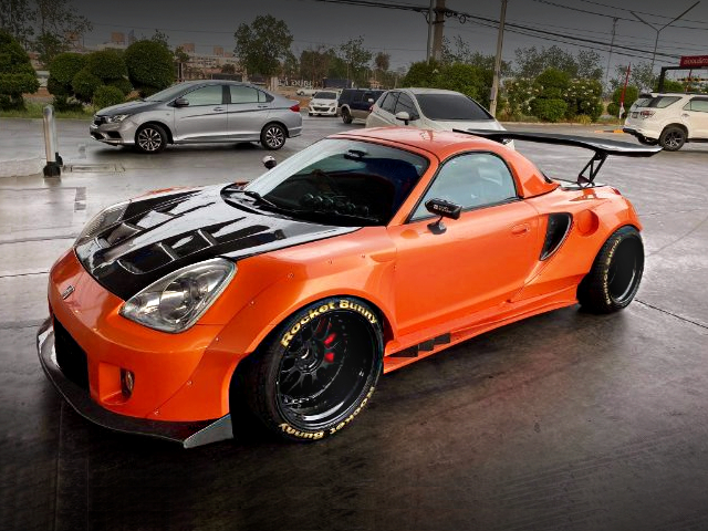 FRONT EXTERIOR OF TOYOTA MR-S WIDEBODY With ORANGE PAINT.
