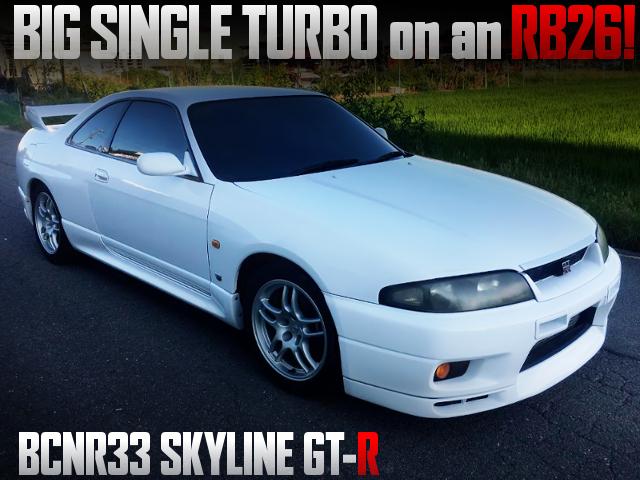 BIG SILGLE TURBO CONVERSION R33 GT-R WHITE.