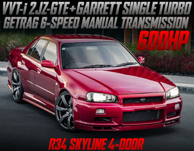 2JZ-GTE With SINGLE TURBO AND 6MT INTO R34 SKYLINE 4-DOOR WIDEBODY.