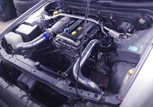 S15 SR20DET TURBO ENGINE INTO R34 ENGINE ROOM.