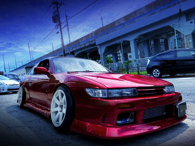 FRONT EXTERIOR OF S13 SILVIA With MAZDA SOUL RED.