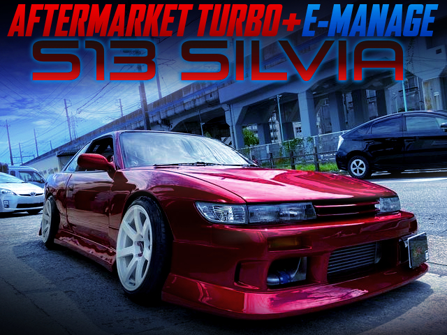 SR20DET with AFTERMARKET TURBO And E-MANAGE INTO S13 SILVIA MAZDA RED.