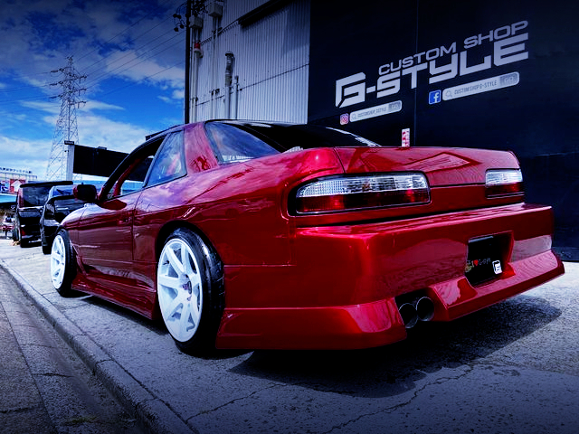 REAR EXTERIOR OF S13 SILVIA With MAZDA SOUL RED.