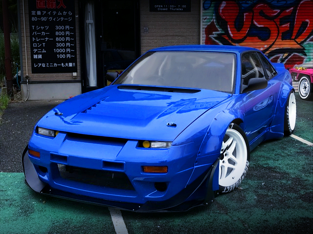 FRONT EXTERIOR OF S13 SILVIA TO ONEVIA CONVERSION.