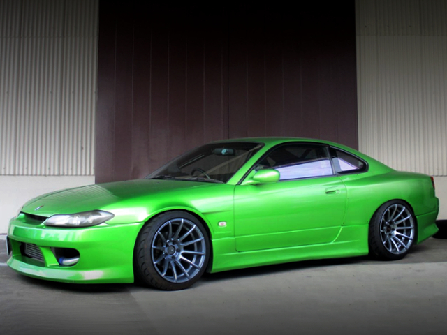 FRONT EXTERIOR OF S15 SILVIA SPEC-R With WIDEBODY AND GREEN METALLIC.