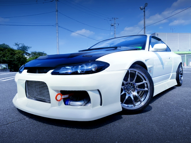 FRONT EXTERIOR OF S15 SILVIA SPEC-R PEARL WHITE.