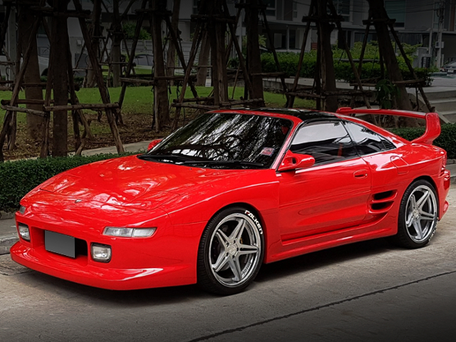 FRONT EXTERIOR OF 2nd Gen MR2 With TRD 2000GT WIDEBODY AND RED PAINT.