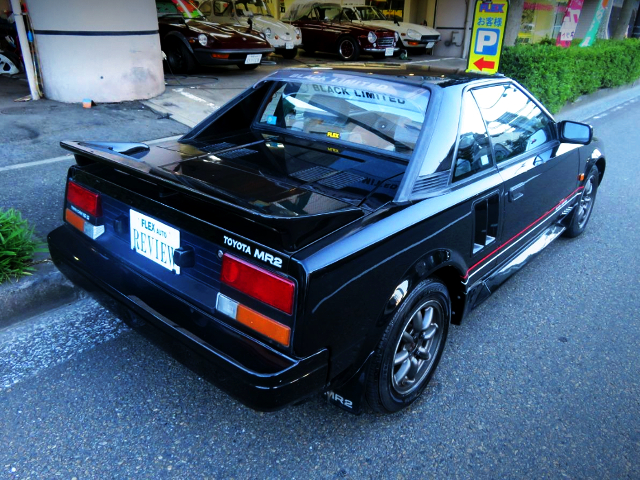 REAR EXTERIOR OF AW11 TOYOTA MR2 BLACK LIMITED.