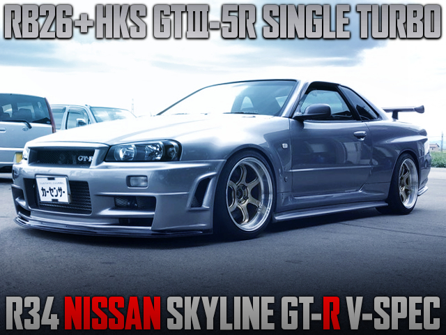 RB26 With HKS GT3-5R SINGLE TURBO INTO R34 GT-R V-SPEC.