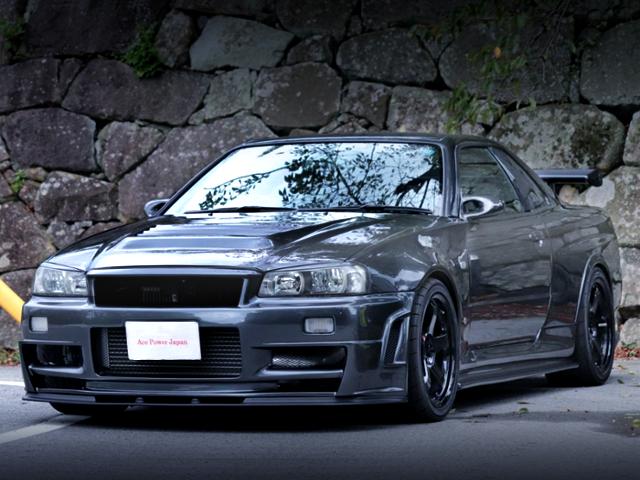 FRONT EXTERIOR OF R34 SKYLINE TO Z-TUNE BODY CONVERSION.