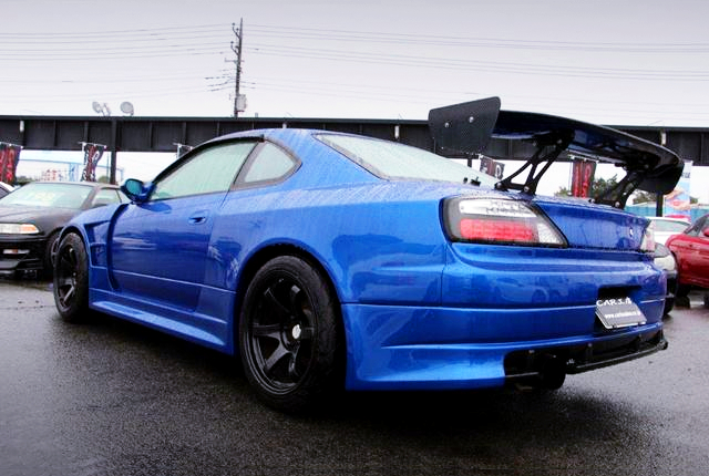 REAR EXTERIOR OF S15 SILVIA WIDEBODY TO BAYSIDE BLUE.