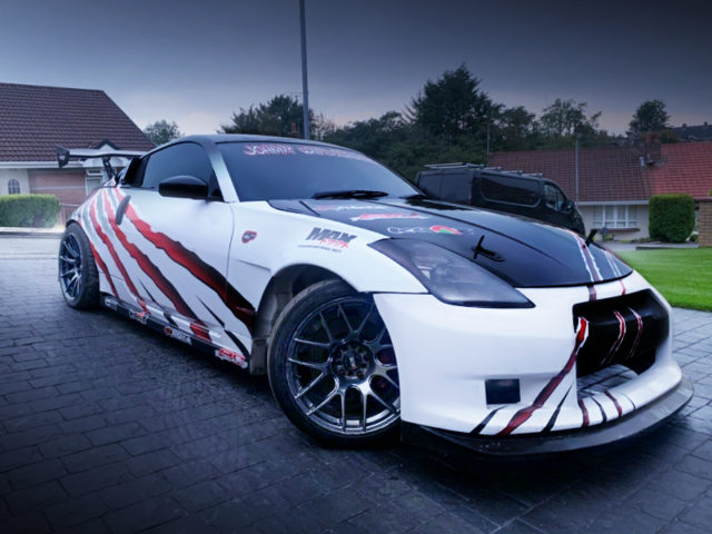 FRONT EXTERIOR OF Z33 NISSAN 350Z DRIFT CAR.
