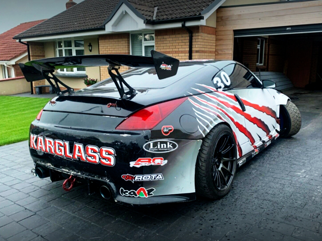 REAR EXTERIOR OF Z33 NISSAN 350Z DRIFT CAR.