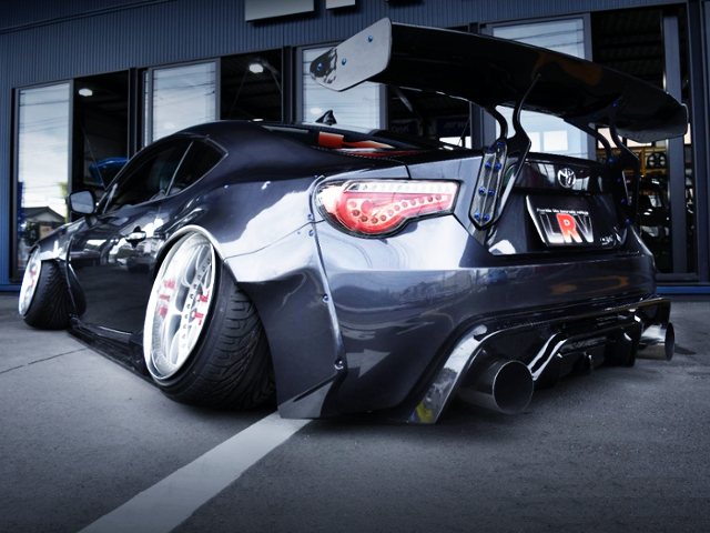 REAR EXTERIOR OF TOYOTA 86GT WIDEBODY.