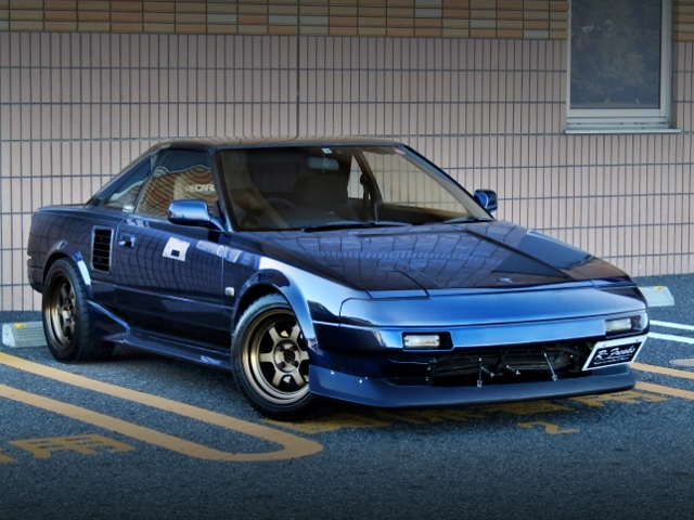 FRONT EXTERIOR OF AW11 MR2 BLUE-BLACK.
