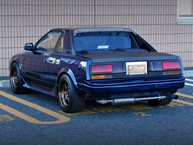 REAR EXTERIOR OF AW11 MR2 BLUE-BLACK.