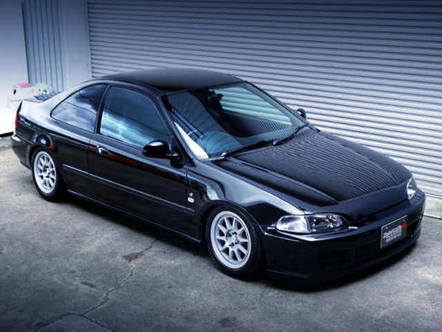 FRONT EXTERIOR OF EJ1 CIVIC COUPE TO BLACK.