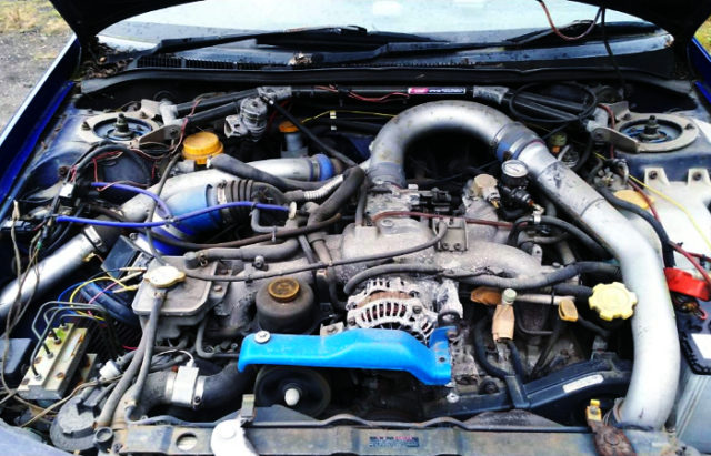 EJ20 BOXER ENGINE With AFTERMARKET TURBOCHARGER.