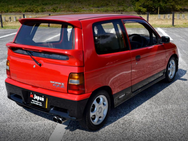 REAR EXTERIOR OF HB21S ALTO WORKS RSZ RED BLACK TWO-TONE.